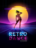 Retro 1980`s dancing lady. With glitch sunset background. Vector illustration Royalty Free Stock Photography