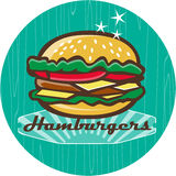 Retro 1950s Diner  Hamburger Circle Royalty Free Stock Photo