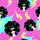 Retro 80s disco party seamless pattern Stock Image
