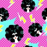 Retro 80s disco party seamless pattern Stock Image