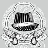 ` Retro s dos homens ajustado: vector a ilustração do vintage com o chapéu e os revólveres do ` s do gângster Imagens de Stock