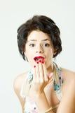 retro s förvånad kvinna för 50 Royaltyfria Foton