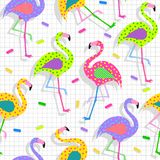 Retro 80s flamingo pattern background Royalty Free Stock Photography