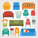 Retro 70s furniture set. armchairs, chairs and sofas Stock Image