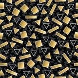 Retro 80s geometry seamless pattern gold shape Stock Photos