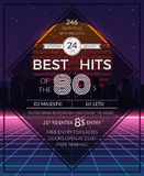 Retro 80s hits party poster. Neon and disco event, deejay music, vector illustration Stock Images