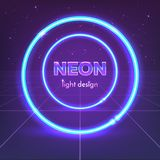 Retro 80`s neon circles on digital landscape. Vector illustration. Retro 80`s neon circles on digital landscape. Vector illustration Royalty Free Stock Image