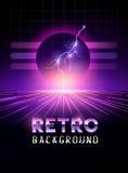 Retro 1980`s neon horizon background Stock Photos