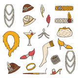 Retro 1920s objects. Set of retro fashion 1920s 1930s objects with hand drawn women hats, clothes, jewelry. Chicag party style. Old-fashioned retro-styled design royalty free illustration