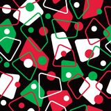 Retro 50s Pattern in Holiday Colors. Seamless retro-styled 1950s abstract pattern in holiday red, white, green and black Stock Image