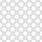 Retro 70s pattern with lines and circles. Abstract geometric 70s retro pattern, lines and circles. Seamless vector background. Plain colors, white and grey royalty free illustration