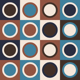 Retro 70s pattern with lines and circles. Retro abstract geometric pattern. Vector seamless background. Teal blue, brown and ivory colors stock illustration