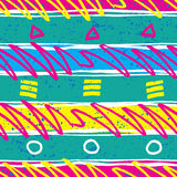 Retro 1980s Pattern. Vibrant and colourful pattern inspired by the graphic design of the 1980s Stock Photos