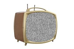 Retro 1950s Portable Television with Static Screen.  royalty free stock images