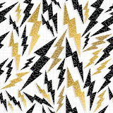 Retro 80s 90s thunder bolt ray pattern gold fancy Royalty Free Stock Photo