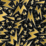 Retro 80s 90s thunder bolt ray pattern gold fancy Stock Image