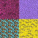 Retro 80s seamless pattern background set. Set of retro vintage 80s memphis fashion style seamless pattern illustration background. Ideal for fabric design Royalty Free Stock Photography