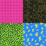 Retro 80s seamless pattern background set. Set of retro vintage 80s memphis fashion style seamless pattern illustration background. Ideal for fabric design Stock Photos