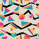 Retro 80s seamless pattern background Stock Photos