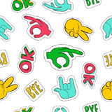 Retro 90s style hand sign patch seamless pattern Stock Image