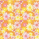 Retro 60s style pattern. Pink and yellow daisy flowers on orange background. Bohemian vintage print. Flower power stock illustration