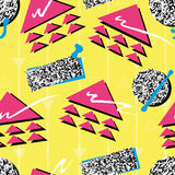 Retro 1980s Style Pattern. Vibrant and colourful pattern inspired by the graphic design of the 1980s Royalty Free Stock Image