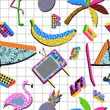 Retro 80s summer pattern background Stock Photo