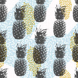 Retro 80s summer seamless pattern with pineapple. Retro 80s summer seamless pattern, memphis style shapes background in soft colors with pineapple fruit elements Stock Photos