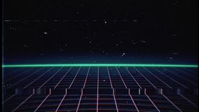 Retro 80s VHS tape video game intro on grid with sunrise and stars with glitches