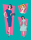 Retro 1950s Women. Set of three illustrations of classic, mid-century 1950s women stock illustration