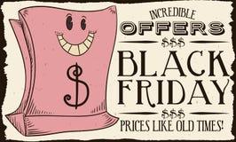 Retro sacchetto della spesa per le vendite di Black Friday, illustrazione del fumetto di vettore Fotografie Stock Libere da Diritti