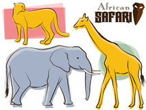 retro safari för afrikanska djur Vektor Illustrationer
