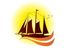 Retro sail ship-logo type Stock Photography
