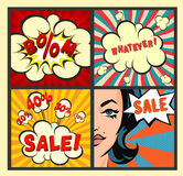 Retro Sale banners set on colorful rays backgrounds. Vintage sell-out posters. Explosion with clouds and woman. Vector illustratio. Ns Stock Photography