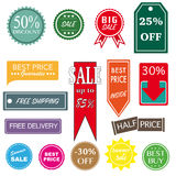 Retro sale and discount badges Stock Photography
