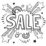 Retro sale icon. Doodle style sale icon on retro pop explosion background in vector format Stock Photos
