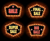 Retro sale lightbulb signs. And big discount campaign banners vector illustration Royalty Free Stock Photo