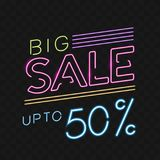 Retro sale neon sign. Vector illustration royalty free stock photo