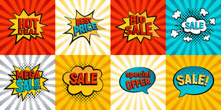 Retro sales icon vector card collection. Cartoon icon on colorfull rays background. Bubbles vector illustration. Tag icons with halftone dot, comic style Stock Image