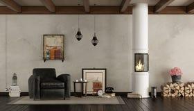 Retro salone con la stufa di legno Immagini Stock Libere da Diritti