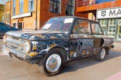 Retro samochód ZAZ lub Zaporozhets na Flacon projekta fabryce Fotografia Royalty Free