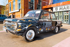 Retro samochód ZAZ lub Zaporozhets na Flacon projekta fabryce w Moskwa Zdjęcie Stock