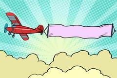 Retro samolot z faborkiem w niebie ilustracja wektor