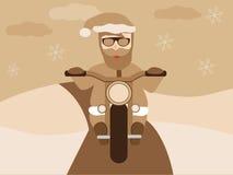 Retro- Santa Claus auf Design-Weinleseart des Motorrads flacher mit Sepiahintergrund Stockfoto