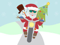 Retro santa claus on motorcycle with snowman flat Royalty Free Stock Image