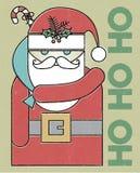 Retro Santa Ho Ho Ho Holiday Card royalty-vrije illustratie