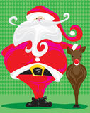 Retro Santa and Rudolph. A stylized illustration of a very plump Santa patting Rudolph on the head, perfect for the front of a christmas card or party invitation royalty free illustration