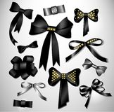 Retro satin black gift bow collection Royalty Free Stock Photo