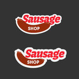 Retro sausage badge design Royalty Free Stock Photography