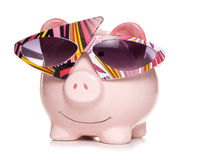 Retro savings piggy bank cut out Stock Photos